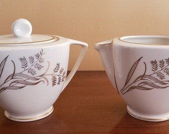 Vintage Cream and Sugar Set Park Lane Pattern EXC6 in Gold by Exclusive Fine China Inc -  Rare find. Gold grasses, leaves, Asian flair