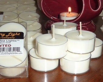 7 Hr Premium Soy Tea Lights - natural white, unscented, long lasting, clear cups, no smoke/soot, Country Light Candle, wholesale available