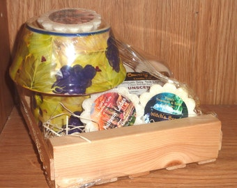 Wax Tart & Burner Gift Box w/ 3 Tarts, 4 Soy 7 Hr Tea Lights and Grape Leaves Warmer Lamp, Mothers Day, Autumn, Halloween, Wooden Crate