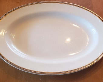 Antique White Oval Serving Platter with Gold and Black Rim by Johnson Brothers England