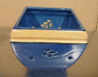 "Cobalt Blue Ceramic Stoneware Candle Holder with leaf cutouts.  Tealight Votive vase trinkets, 4"" sq pottery trim with shiny glaze finish"