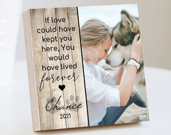 """Personalized Pet Sympathy Memorial - Printed Photo Block 4"""" or 6"""" w/ Handwritten Card -Dog Memorial Frame Dog Sympathy Gift Dog Remembrance"""