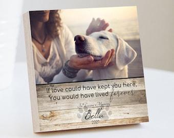 """Personalized Pet Memorial Printed 4"""" or 6"""" - Wood Photo Block - Dog Loss Gift - Dog Memorial Frame - Pet Loss Gift Dog - Pet Memorial"""