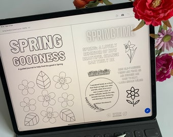 Digital SPRING GOODNESS guided journal - eBook version - daily happiness - celebrate Spring - journalling - journal prompts - happy Spring