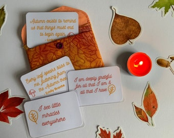 Set of 24 Autumn AFFIRMATIONS and QUOTE cards in a handmade popper pouch - daily positivity - encouragement - self love - self care