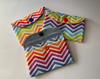 Rainbow Chevron Small Purse Wallet Pouch - perfect for business cards, store cards, coins or loose change - handmade with popper closure