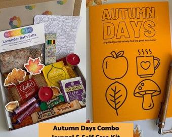 COMBO DEAL - Autumn Days guided journal & seasonal self care kit - letterbox gift - vegan option - celebrate Autumn - cozy self care