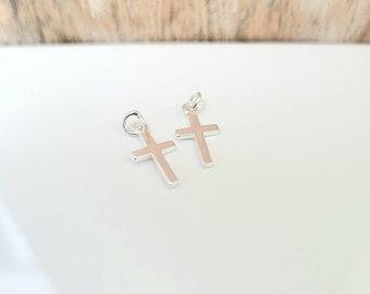 Tiny Silver Cross Charms Mini Cross Charm 15 pcs Small Sterling Silver Crosses