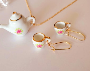 Teapot earrings tea necklace set green gold jewelry set tea time fashion jewelry tea set jewelry bead chains