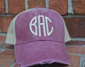 Monogram Trucker Hat, Monogram Trucker Hat, Women / Men, Distressed Hat, Embroidered Hat, Personalized Hat, Custom Hat, Monogrammed Hat