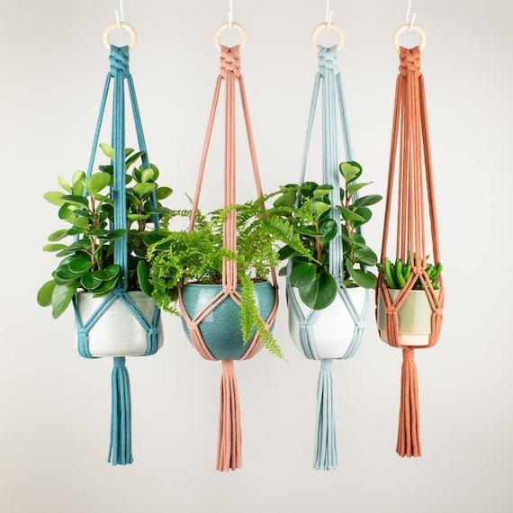 Macrame Plant Hanger LISA, Recycled Cotton Plant Pot Holder, 21 Colours