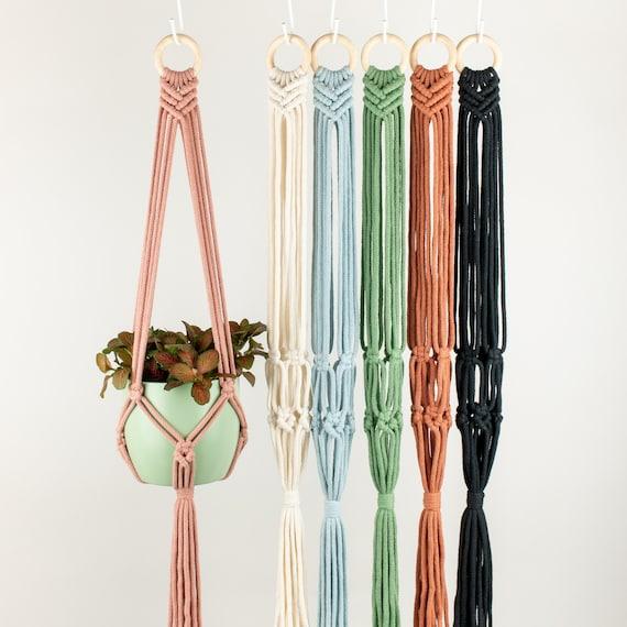 Macrame Plant Hanger GRACE, Recycled Cotton, 21 Colours