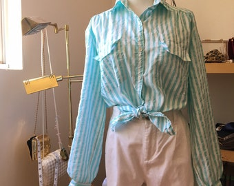 Vintage Aqua Silk Cropped Long Sleeve Blouse with Collar  Petticoat Top  Crop Teal Blue Shirt  edwardian  prairie  victorian turquoise