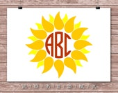 Flower Monogram Frame Yellow Sunflower Cutting Files Cricut Cut Files Floral Frame Svg Sunflower Svg Flower Sunflower Monogram Frame DA0185