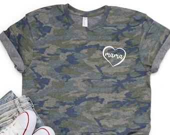 Boy Mom Camo Camoflage Bleach Acid Wash Tee Shirt