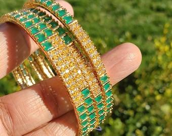 Size 2.6 | Set of 4 Bangles | Emerald Green & AD Stones