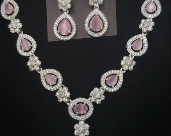 AD Necklace   Pretty Pink Gem with White Ad Stones   Rhodium Color Metal