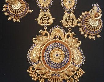 Long Haar   Antique Gold   Blue Stone   Bridal   Jhumka Earring   Sapphire Blue   Peacock