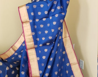 Kanchi Pure Soft Silk Saree:  Beautiful Deep Blue with Magenta Bridal Pure Soft Silk