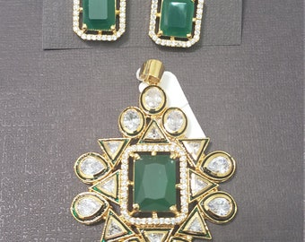 Kundan | Emarald Green with Uncut White Stones | Gold Color Metal