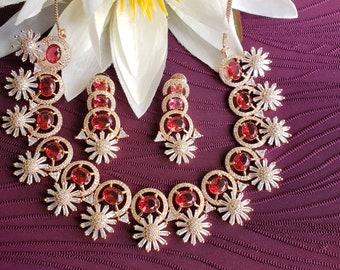 Royal AD on Rose Gold l Stunning Reddish Pink Ruby Necklace   Rose Gold Finish  