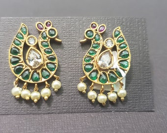 Earring Tops Stud | AD | Cubic Zirconia | White | Emerald Color