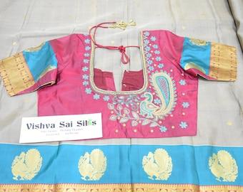 Kanchi Pure Silk Saree: With Handmade Aari Blouse