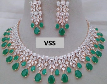 AD Necklace   Emerald Green Color with White Ad Stones   Rose Gold Color   Big Earring