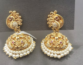 Earring Jhumka | Gold Color | Pearl Details | Peacock Engraving