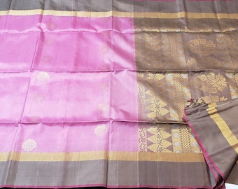 Pure Soft Silk Saree: Purplish Pink with Taupe | Pure | New Color Combination