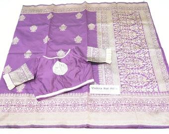 Designer Saree: Semi Banaras in Deep Plum and Cream Thread Work