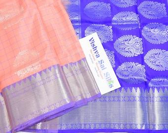 Kanchi Pure Soft Silk Saree:  Beautiful Delicate Salmon Color with Violet Border. Checks and Uppada Style Soft Silk with White Jari