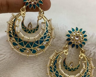 Chandbali Earring | Kundan Enamel | Teal
