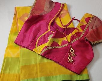 Designer Saree : Semi Ikkat Silk | Yellow with Bright Pink |