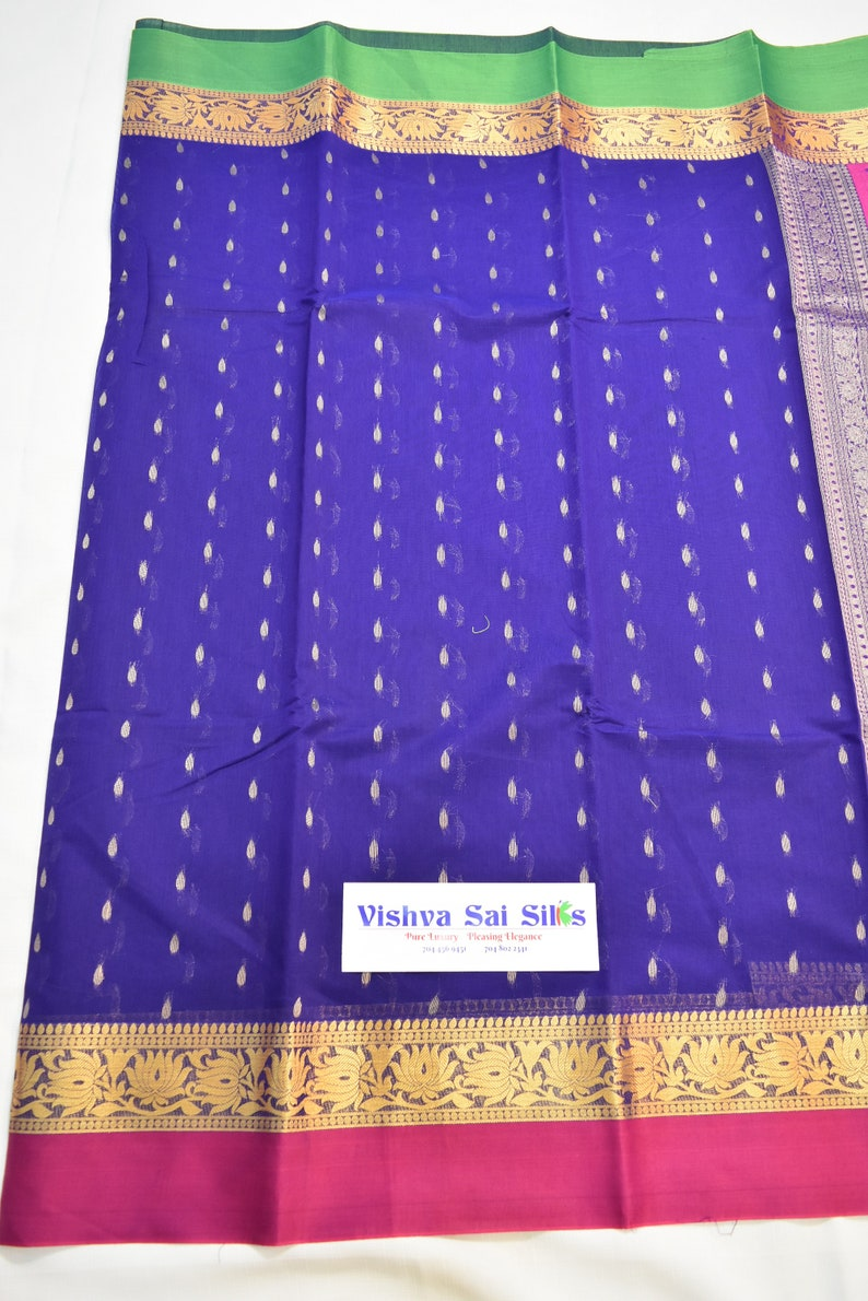 Ganga Jamuna Border in Green /& Pink Good for Vegan Saree Lovers! Cotton Mix Vegan VioletBlue Body