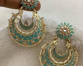 Chandbali Earring | Kundan Enamel | Light Teal/ Pastel Blue