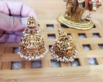 Lakshmi Jhumka | Antique Matt Gold Color | Pearl Details | Lakshmi Engraving