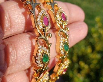 Size 2.8 | Set of 2 Ruby Red, Emerald Green, Ad White Stone Bangles |
