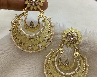 Chandbali Earring | Kundan Enamel | Pastel Lemon Yellow