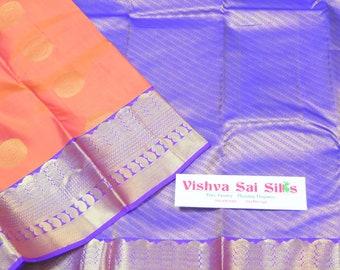 Kanchi Pure Silk Saree: Unique Color Combination Orange and Violet Pure Silk Saree