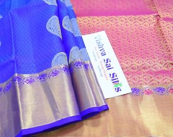Kanchi Pure Soft Silk Saree:  Beautiful Rich Blue with Pink Pallu Dotted with Gold Jari Buttas