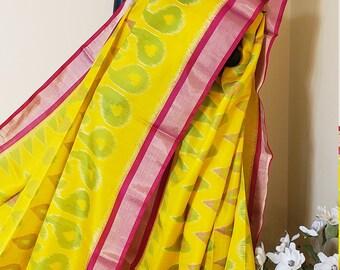 Pure Soft Silk Saree:  Beautiful Pochampalli Pattern Saree with Lovely Color Combination