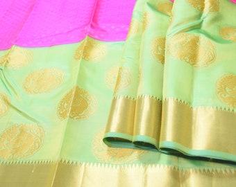 Kanchi Pure Silk Saree: Shocking Pink with Vibrant Green Big Border