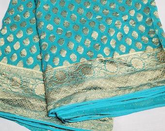 Banaras Georgette Pure Silk Saree: Beautiful Light Blue Georgette Pure Silk Saree