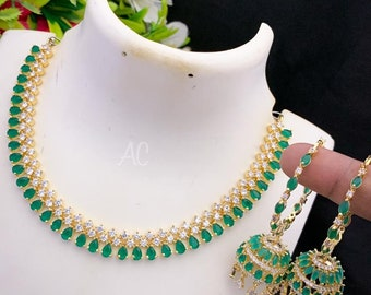 AD Necklace   Emerald Green Color with White Ad Stones   Yellow Gold Color   Hoop Earring