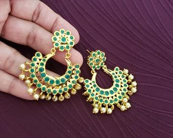Big High Polish ChandBali | Shining Gold Color | Pearl Details | Emerald Green Stones