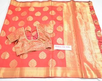 Designer Saree: Semi Banarasi Saree in Rich Gold Jari Pattern All Over