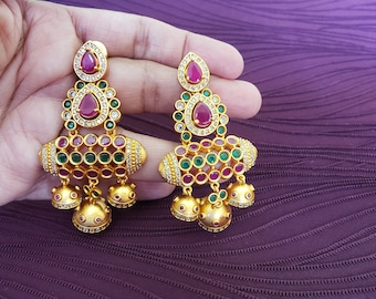 Unique Temple Antique Matt Gold Finish | Ruby Red & Emerald Green | Statement Earring