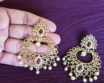 Big ChandBali | Pearl Details | Transparent Cut Stones & Ruby Red Stones