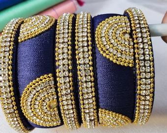 Bangles: Silk Thread Bangles | Size 2.6 | Blue